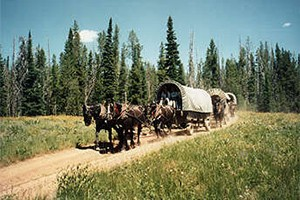 Teton Wagon Train & Horse Adventure :: Relive the experiences of early pioneers who expanded our nation's frontiers! Covered Wagon & Horse Adventures in Yellowstone Country & Jackson Hole. Trip of a lifetime!