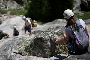 Exum Mountain Guides - family & kid climbing :: Rock climbing is a terrific way to involve the entire family in a Teton adventure. A Family Climbing day at our Hidden Falls climbing area is fun for families or just kids!