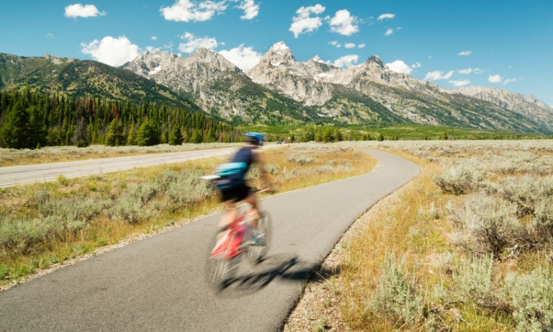 Biking through Grand Teton National Park