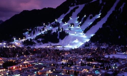 Jackson Hole Wyoming Snow King Resort Town Winter Night Skiing