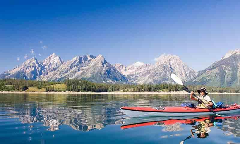 Kayaking on Jackson Lake in Grand Teton Park