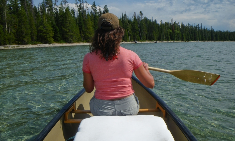 Canoe Canoeing Grand Teton National Park Leigh Lake Wyoming Kayaking